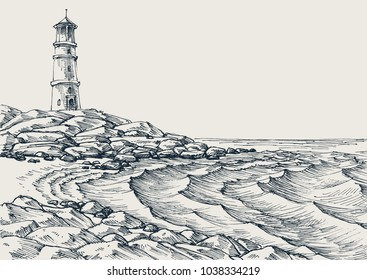 Sea shore and sea waves drawing. Side view of a rocky beach, lighthouse in the background