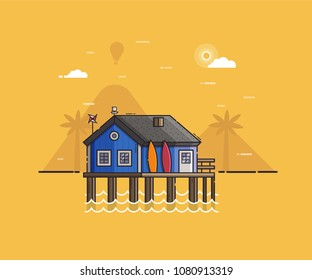 Sea side landscape with blue beach hut and surfboards. Summer bath house on seaside background in flat design. Summertime vacation or surfing travel concept vector illustration.
