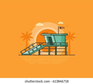 Sea side landscape with wooden lifeguard house on tropical beach in flat design. Retro life guard tower on sunset seaside background. Baywatch hut or observation tower vector illustration.
