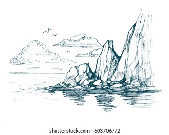 Sea sketch with rocks and clouds.Hand drawn illustration converted to vector.