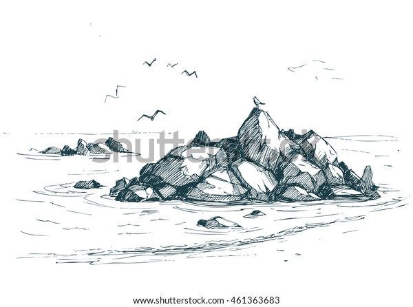 Sea sketch with rocks and gulls. Vector illustration.