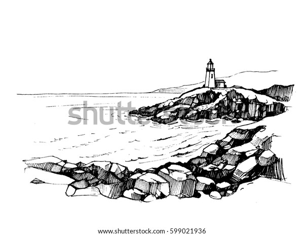 Sea sketch with rocks and lighthouse. Hand drawn illustration converted to vector.