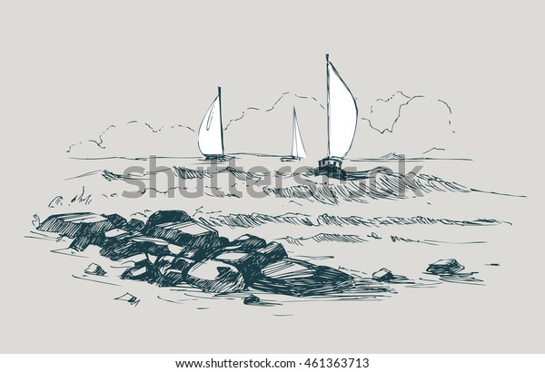 Sea sketch with rocks and yachts. Vector illustration.