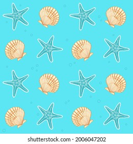 Sea star and shell pattern. Vector Illustration.