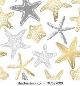Sea stars seamless vector print. Aloha, Hawaii, party. Hand drawn elements. Home decor. Textile design. Gold sand.