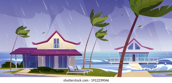 Sea storm with rain and tornado on tropical beach with bungalows and palm trees. Vector cartoon landscape of stormy ocean with waves, villas on coast, wind, hurricane