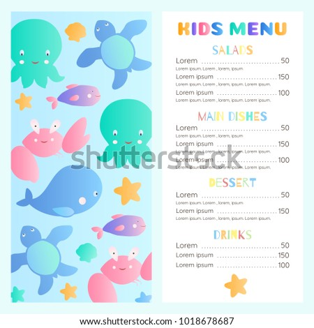 sea style childrens menu template lovely stock vector royalty free