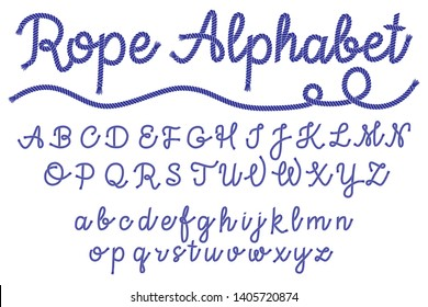Sea style rope-characters font, nautical letters, decorative alphabet. Vector illustration EPS 10.