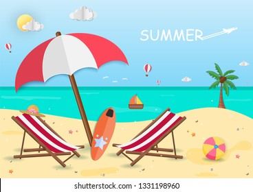 Sea in summer time. view of the on background design. travel accessories around the world concept. paper art, vector, illustration, banner, Card, Poster