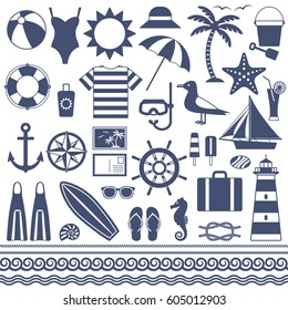 Sea and summer vector silhouette icons