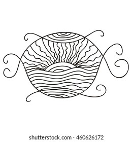 Sea and sun. Abstract nature decorative element. Vector illustration.