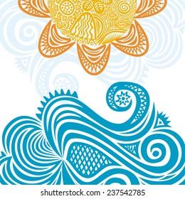 Sea and sun nature pattern background vector illustration