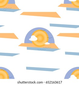 Sea, Sun, Sand and Clouds Abstract Illustration Seamless Pattern Isolated on White Background. EPS10