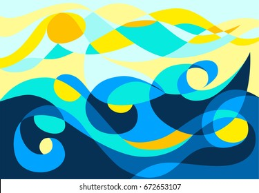 Sea, sun and waves. Mosaic in stained glass style.