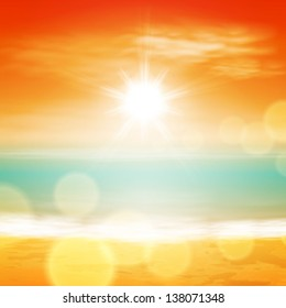 Sea sunset with bright sun, light on lens. EPS10 vector.