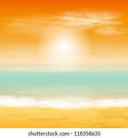 Sea sunset. EPS10 vector.