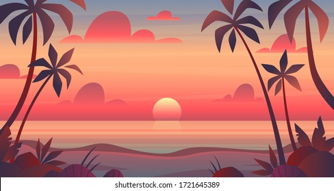Sea sunset. Evening or morning view of sun above ocean. Panorama with clouds, water surface and palm trees, exotic cartoon vector bright landscape