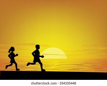 Sea Sunset Exercise Background