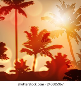 Sea sunset with island and palm trees. EPS10 vector.