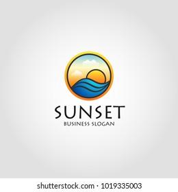 Sea Sunset - Stylish Sunset logo With Circle Concept