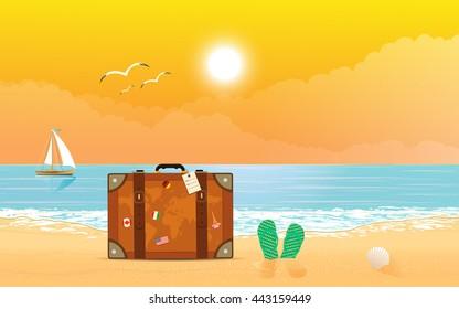 Sea sunset. Summer theme. Vector eps10.