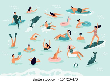 Sea swimming. Active people diving, swim with dolphins and surfing. Summer ocean swimming, enjoy tropical surfers or surf wave catch vacation vector illustration