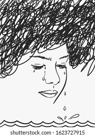 Sea of tears dripping from eyes of depressed young girl with black scribble cloud on her head, Vector sketch, Hand drawn illustration
