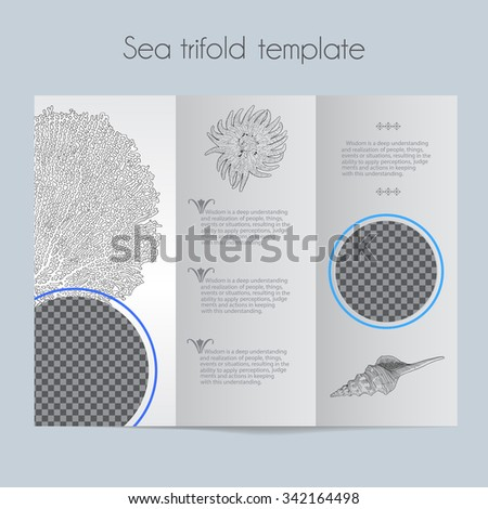 Sea Template Trifold Mock Brochure Menu Stock Vector Royalty Free