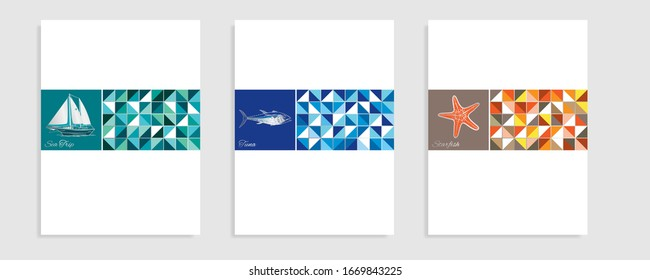 Sea theme catalog. Vector illustration.