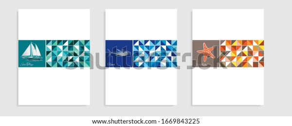 Sea theme catalog. Vector illustration.