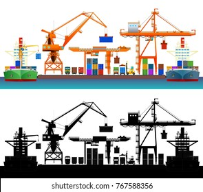 Sea trade port, container ships, cranes, trucks and trains. Front view, flat style vector illustration