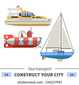 Sea transport: boat, submarine, sail. Set of elements for construction of urban and village landscapes. Vector flat illustration