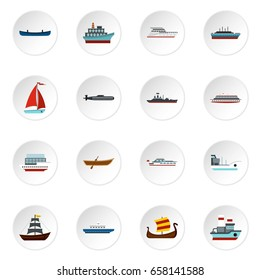 Sea transport set icons in flat style isolated on white background