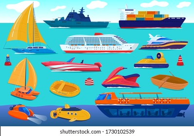 Sea transport, travel ship, water vessels, cruise yacht transportation set of cartoon vector illustration. Flat scooter, boat, steamship, ferry and fishing boat, sea vessel, transporting shipping.