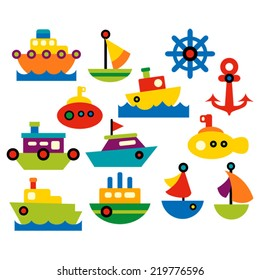 Sea transportation. Cute vector clip art collection in bright colors. Boats and ships.
