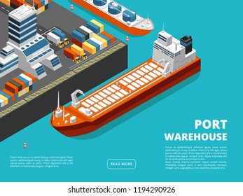 Sea transportation horizontal sea freight and shipping background with isometric seaport, ships, containers. Vector illustration