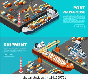 Sea transportation horizontal vector sea freight and shipping banners with isometric seaport, ships, containers and crane. Ship cargo, transport logistic sea, port maritime illustration
