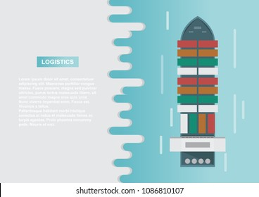 Sea transportation logistic. Sea Freight. Cargo ship, container shipping on flat style. Vector illustration