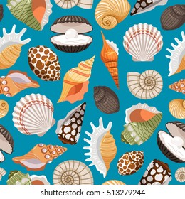 Sea travel and beach tourism background with sea shells seamless pattern. Vector illustration