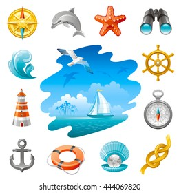 Sea travel icon set in blue color with vacation summer beach symbols on white background. Concept icon set contains vintage compass rose, wheel, starfish, binoculars, lighthouse, anchor, sailing yacht