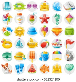 Sea travel icon set, child vacation summer holidays beach icons, isolated white background. Bikini swimsuit, sunglasses, sun, diving flippers, sand castle baby toy, ball, ice cream,vector illustration