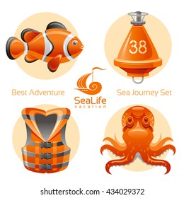 Sea travel icon set with sailing icons - clown fish, octopus, buoy, life jacket