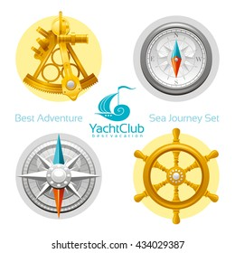 Sea travel icon set with seafaring icons - sextant, compass, compass rose, vintage wheel