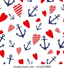Sea travel vector seamless pattern decorated blue anhors red heart Cute nautical background Endless summer vacation ocean template wallpaper pattern surface textures fabric textile package design wrap