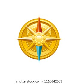 Sea travel vector symbol isolated on white background. Golden vintage compass rose, 3d vacation illustration. Cartoon retro cute icon. Summer holidays sign. Seafarer day clip art