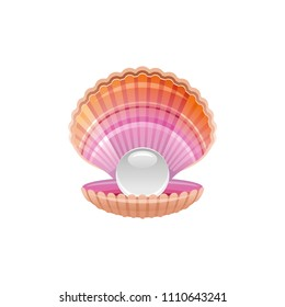 Sea travel vector symbol isolated on white background. Seashell scallop underwater life picture. Shell with pearl 3d vacation illustration. Cartoon icon. Summer holidays sign.