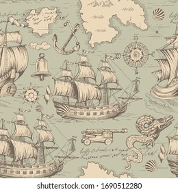 Sea travels, adventures and discoveries. Pirates.Vector abstract seamless pattern. Vintage repeating background with hand-drawn sailboats ships sea monsters and ship anchors and wind rose.