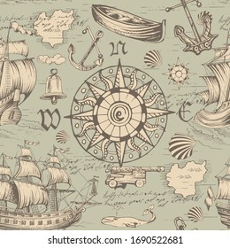 Sea travels, adventures and discoveries. Pirates.Vector abstract seamless pattern. Vintage repeating background with hand-drawn ships sailboats, sea monsters and wind rose.