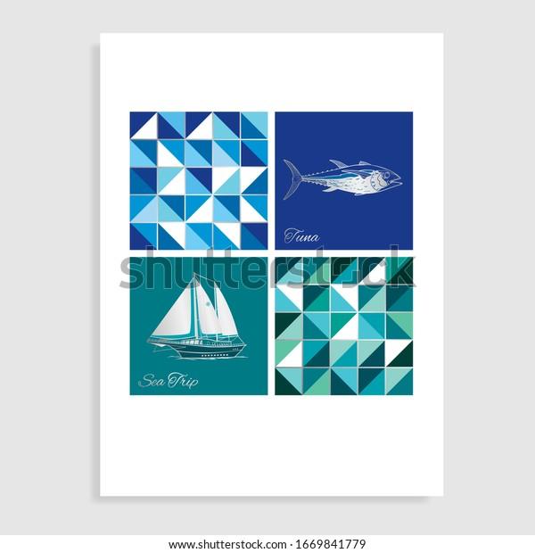 Sea trip catalog. Vector illustration.