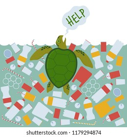 A sea turtle asks for help because it is drowned in plastic waste. Ecological campaign illustration.